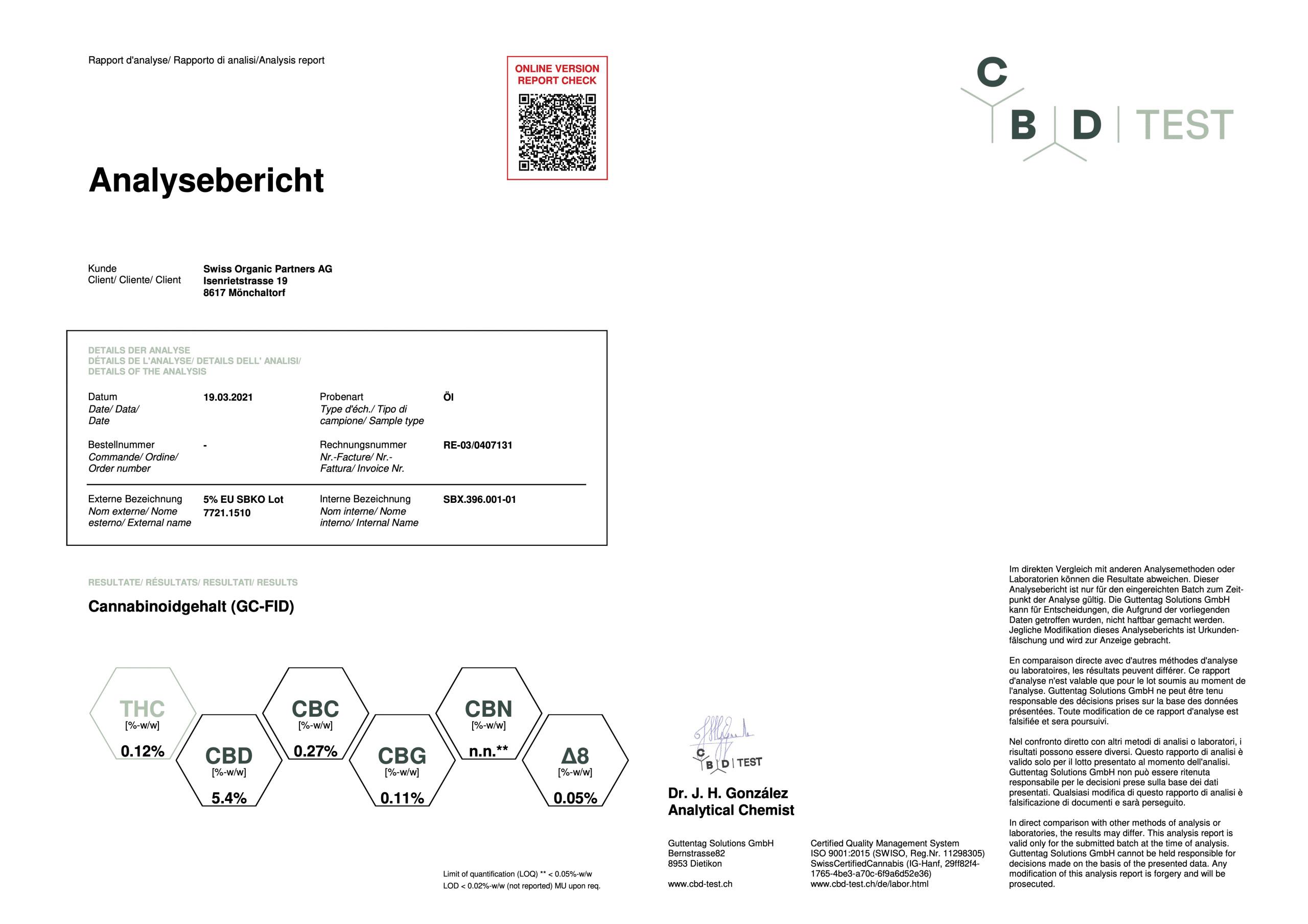 5% Full Spectrum CBD Oil Lab Report /19/03/2021
