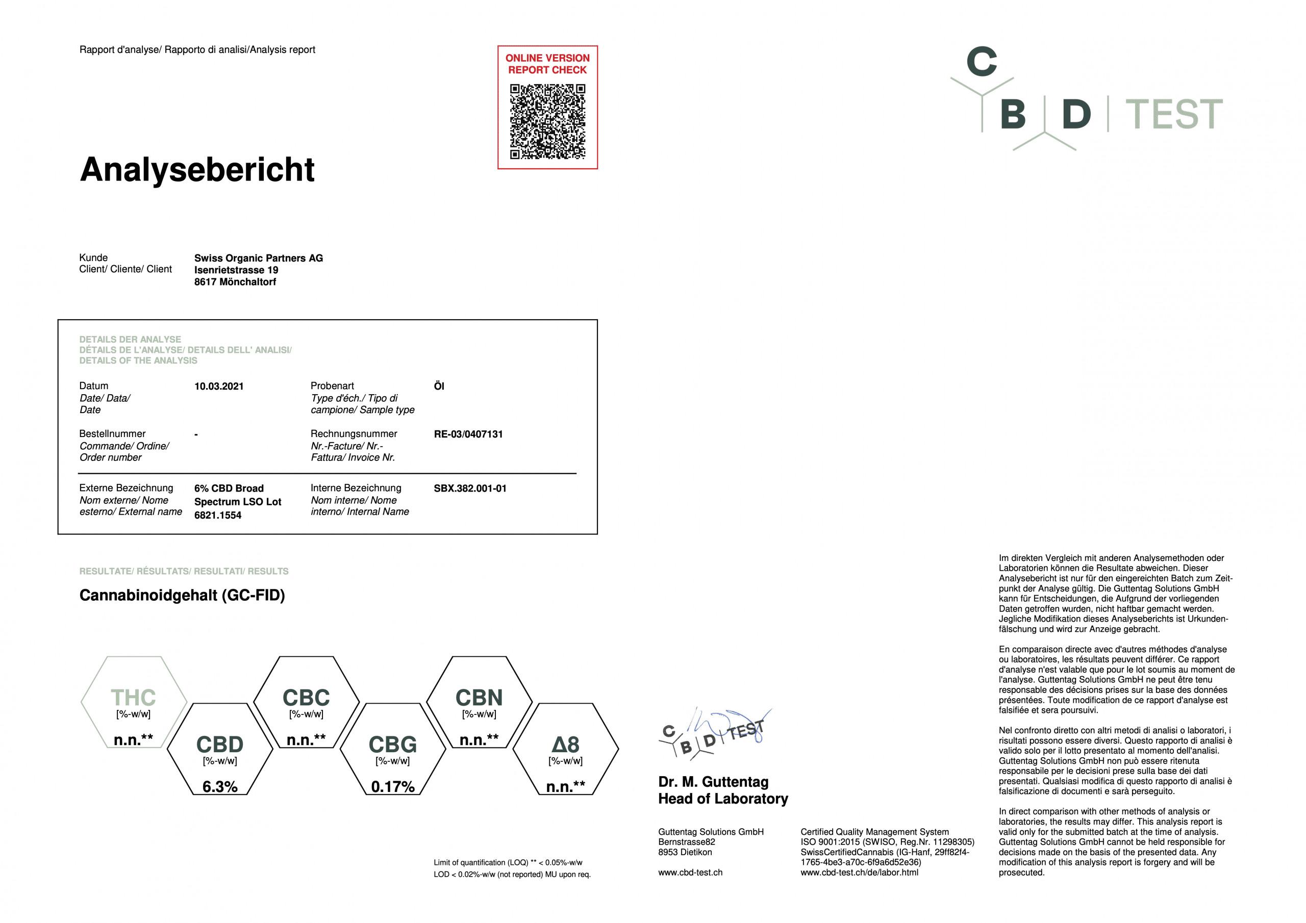 6% Pet CBD oil lab report