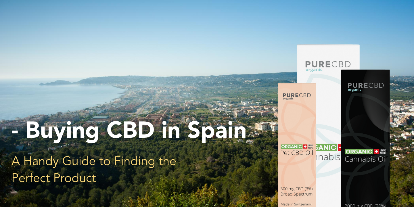Buying CBD in Spain Guide artwork with a picture of Javea Spain