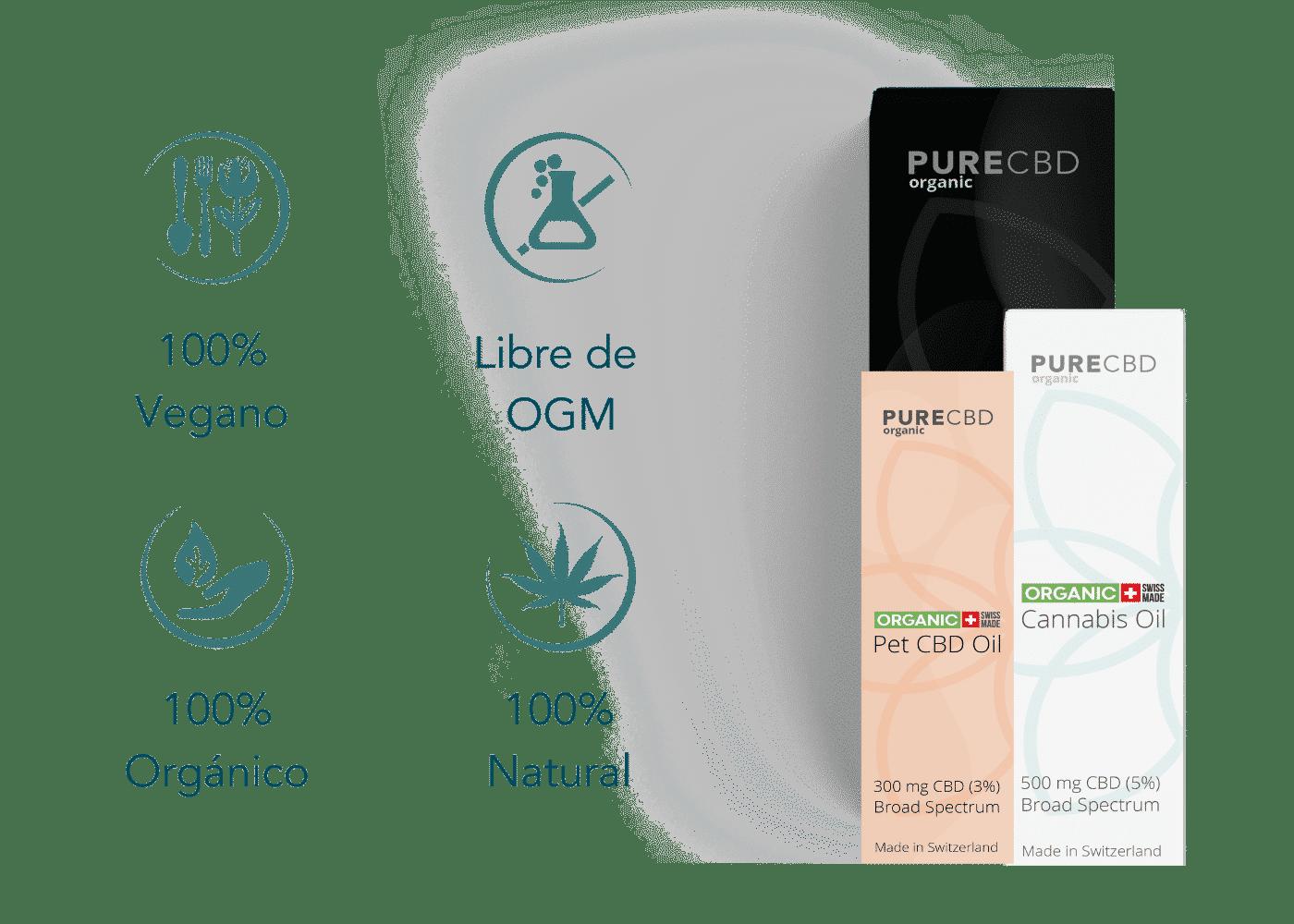 aceite de CBD natural orgánico sin transgénicos vegano España