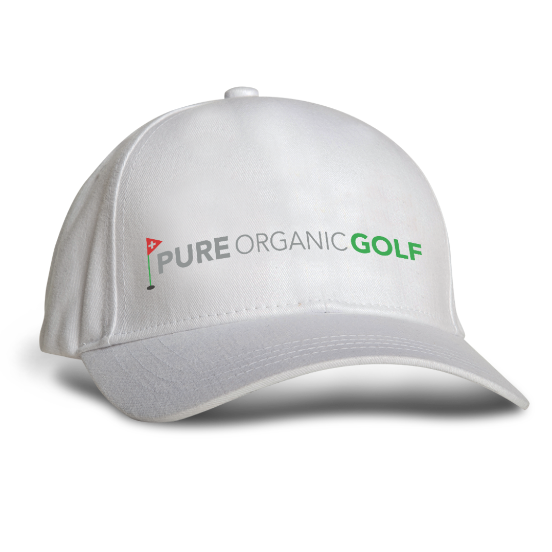 Our team hat here at Pure Organic Golf in white